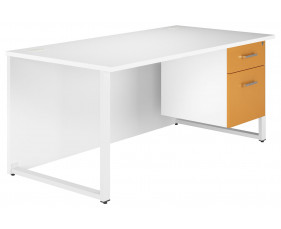 Solero Hooped Leg Single Pedestal Desk (Orange)