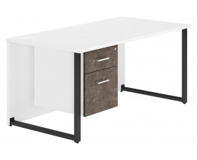 Delgado Hooped Leg Single Pedestal Desk (Pitted Steel)