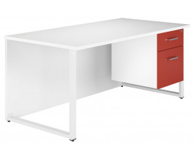 Solero Hooped Leg Single Pedestal Desk (Red)