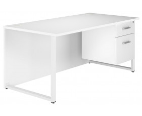 Illusion Hooped Leg Single Pedestal Desk (White Gloss)