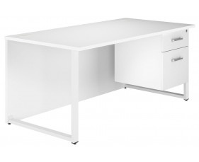 Solero Hooped Leg Single Pedestal Desk (White)