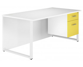 Solero Hooped Leg Single Pedestal Desk (Yellow)