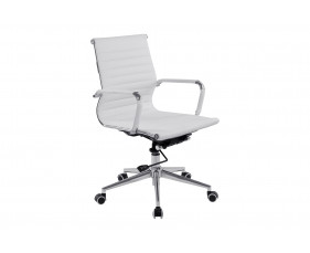 Andruzzi Medium Back White Bonded Leather Executive Chair