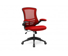 Moon Mesh Back Operator Chair With Black Base (Red)