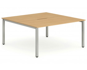 Pamola Back To Back Starter Bench Desk (Silver Legs)