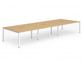 Pamola Triple Back To Back Bench Desk (White Legs)