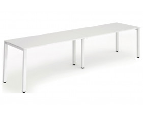 Pamola Double Bench Desk (White Legs)