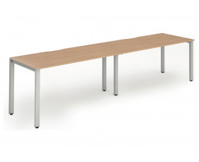 Pamola Double Bench Desk (Silver Legs)