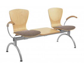 Serena 2 Person Beam Seating With Upholstered Seat