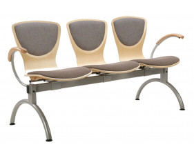 Serena 3 Person Beam Seating With Upholstered Seat & Back
