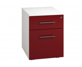 Next-Day Illusion Low Mobile 2 Drawer Pedestal Burgundy Gloss
