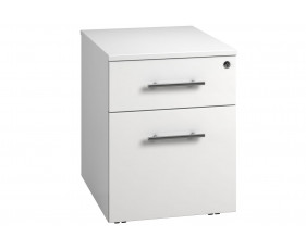 Next-Day Illusion Low Mobile 2 Drawer Pedestal White Gloss