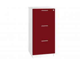 Next-Day Illusion 3 Drawer Filing Cabinet Burgundy Gloss