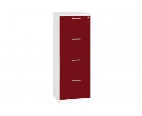 Next-Day Illusion 4 Drawer Filing Cabinet Burgundy Gloss