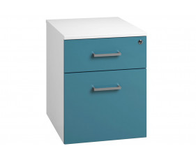 Solero Low Mobile 2 Drawer Pedestal (Light Blue)