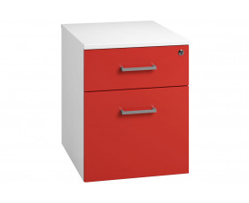 Campos Low Mobile 2 Drawer Pedestal (Red)