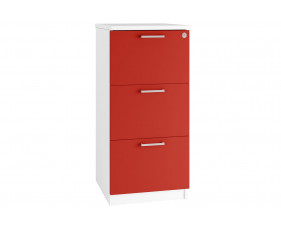 Next-Day Solero 3 Drawer Filing Cabinet (Red)