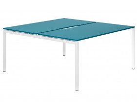 Campos H-Leg 2 Person Back To Back Bench Desk (Light Blue)