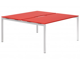 Campos H-Leg 2 Person Back To Back Bench Desk (Red)