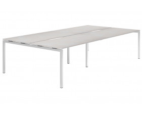 Lasso H-Leg 4 Person Back To Back Bench Desk (Concrete)