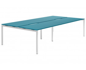Campos H-Leg 4 Person Back To Back Bench Desk (Light Blue)