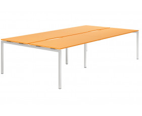Campos H-Leg 4 Person Back To Back Bench Desk (Orange)