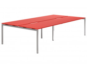 Campos H-Leg 4 Person Back To Back Bench Desk (Red)
