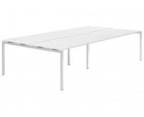 Campos H-Leg 4 Person Back To Back Bench Desk (White)