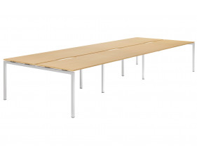 Lozano H-Leg 6 Person Back To Back Bench Desk (Beech)