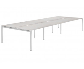 Lasso H-Leg 6 Person Back To Back Bench Desk (Concrete)