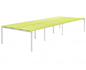 Campos H-Leg 6 Person Back To Back Bench Desk (Green)