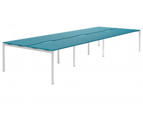 Campos H-Leg 6 Person Back To Back Bench Desk (Light Blue)
