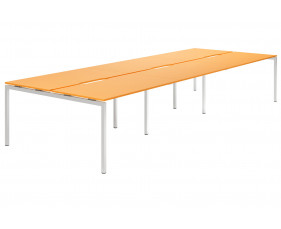 Campos H-Leg 6 Person Back To Back Bench Desk (Orange)