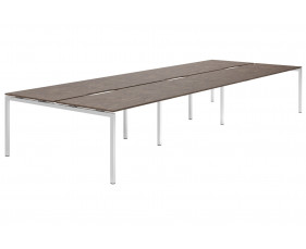 Lasso H-Leg 6 Person Back To Back Bench Desk (Pitted Steel)