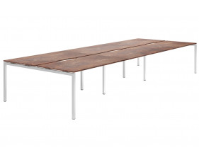 Lasso H-Leg 6 Person Back To Back Bench Desk (Rusted Steel)