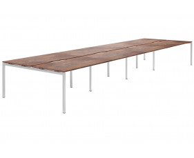 Lasso H-Leg 8 Person Back To Back Bench Desk (Rusted Steel)