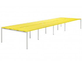 Campos H-Leg 8 Person Back To Back Bench Desk (Yellow)