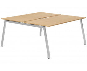 Lozano A-Frame 2 Person Back To Back Bench Desk (Beech)