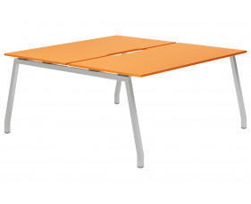Campos A-Frame 2 Person Back To Back Bench Desk (Orange)