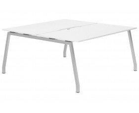 Campos A-Frame 2 Person Back To Back Bench Desk (White)