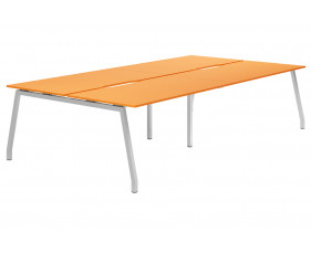 Campos A-Frame 4 Person Back To Back Bench Desk (Orange)