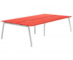 Campos A-Frame 4 Person Back To Back Bench Desk (Red)