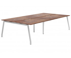 Lasso A-Frame 4 Person Back To Back Bench Desk (Rusted Steel)