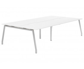 Campos A-Frame 4 Person Back To Back Bench Desk (White)