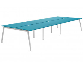 Campos A-Frame 6 Person Back To Back Bench Desk (Light Blue)