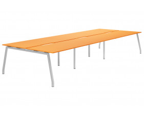Campos A-Frame 6 Person Back To Back Bench Desk (Orange)