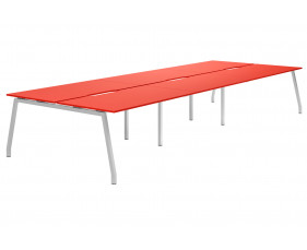 Campos A-Frame 6 Person Back To Back Bench Desk (Red)