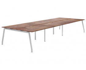 Lasso A-Frame 6 Person Back To Back Bench Desk (Rusted Steel)
