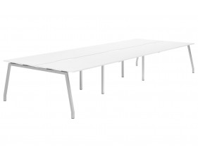 Campos A-Frame 6 Person Back To Back Bench Desk (White)
