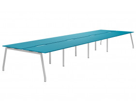 Campos A-Frame 8 Person Back To Back Bench Desk (Light Blue)